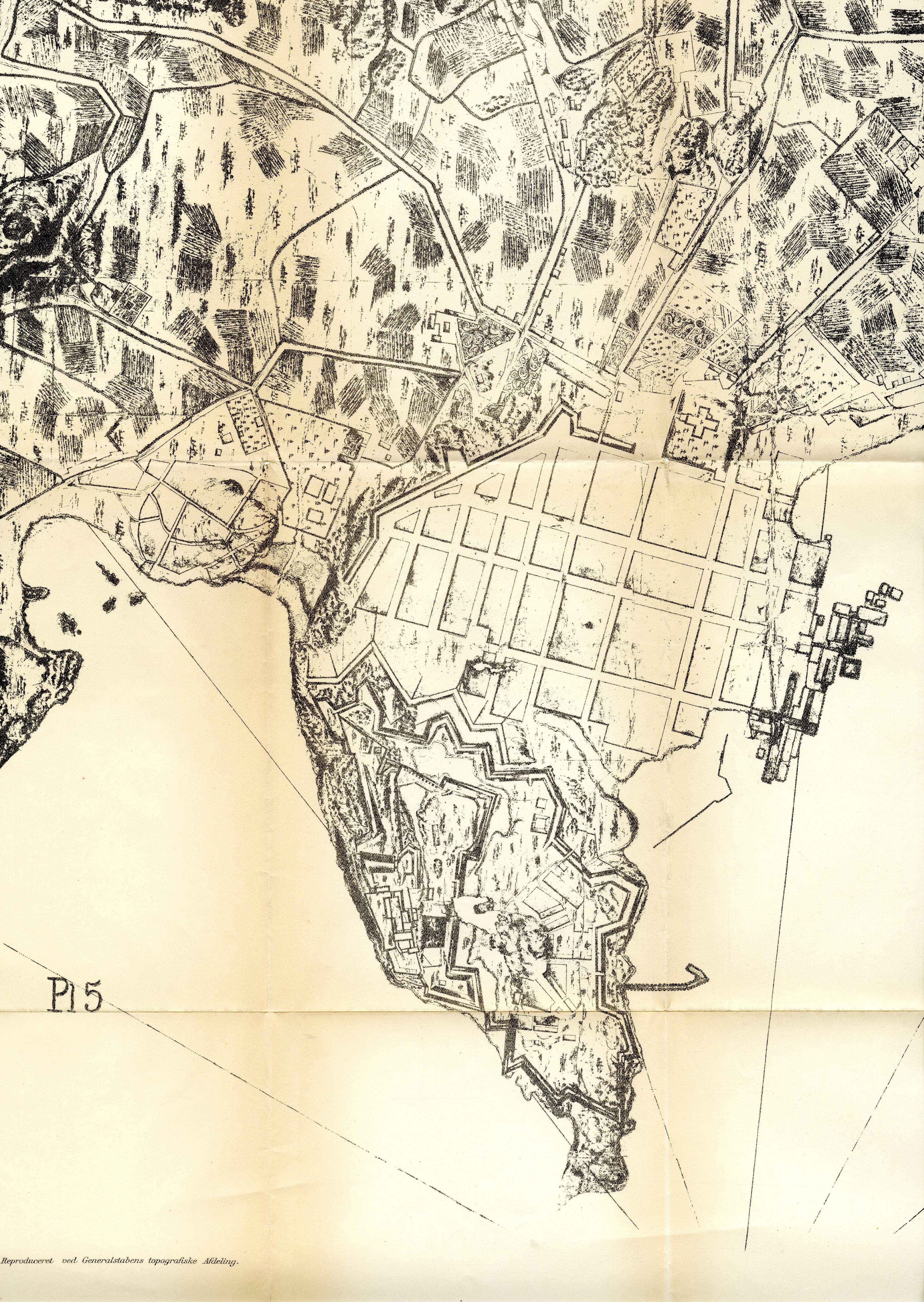 Akershus festning og Christiania by 1716