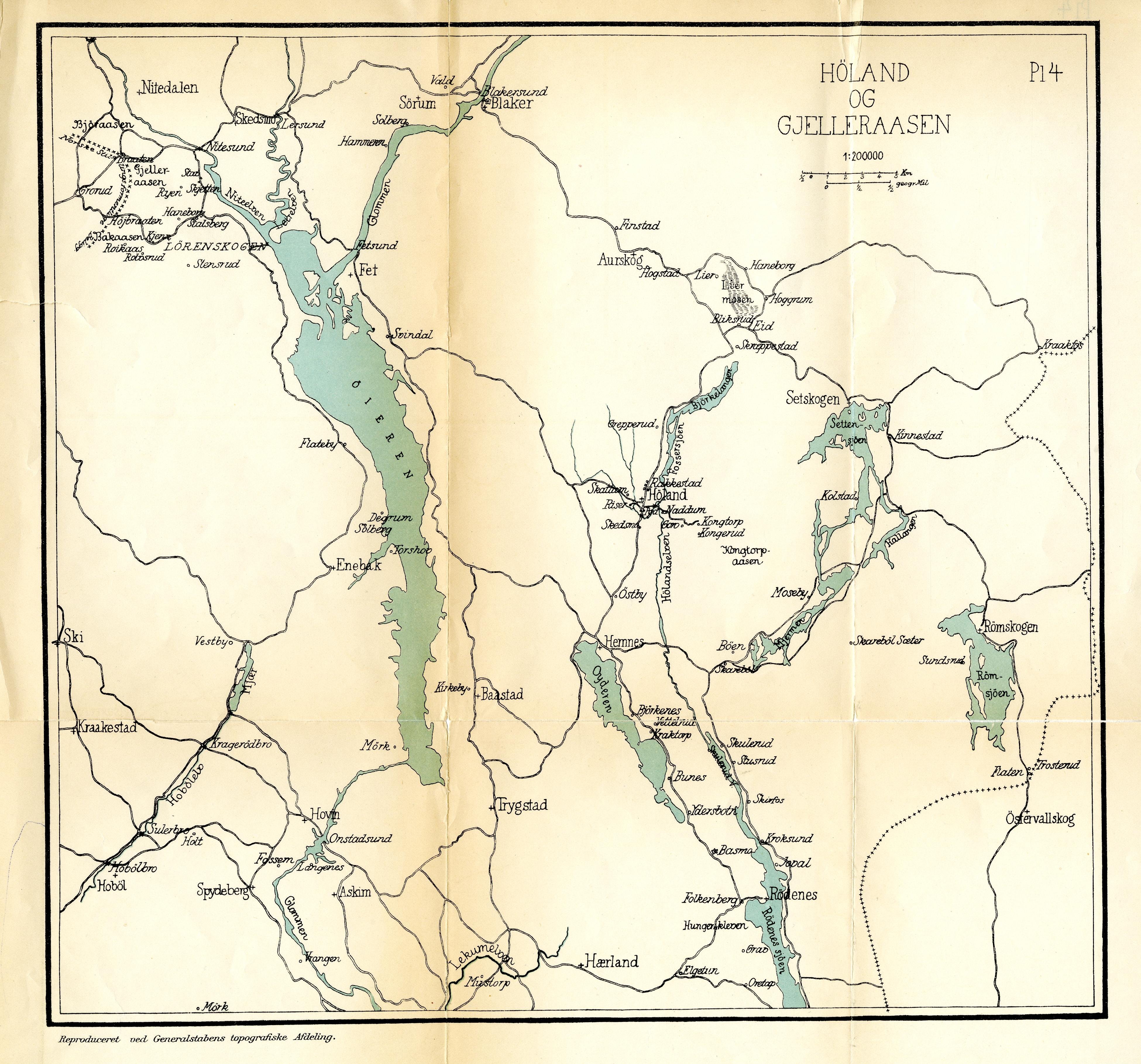 Kart over Høland ,Gjelleråsen og Bakåsen