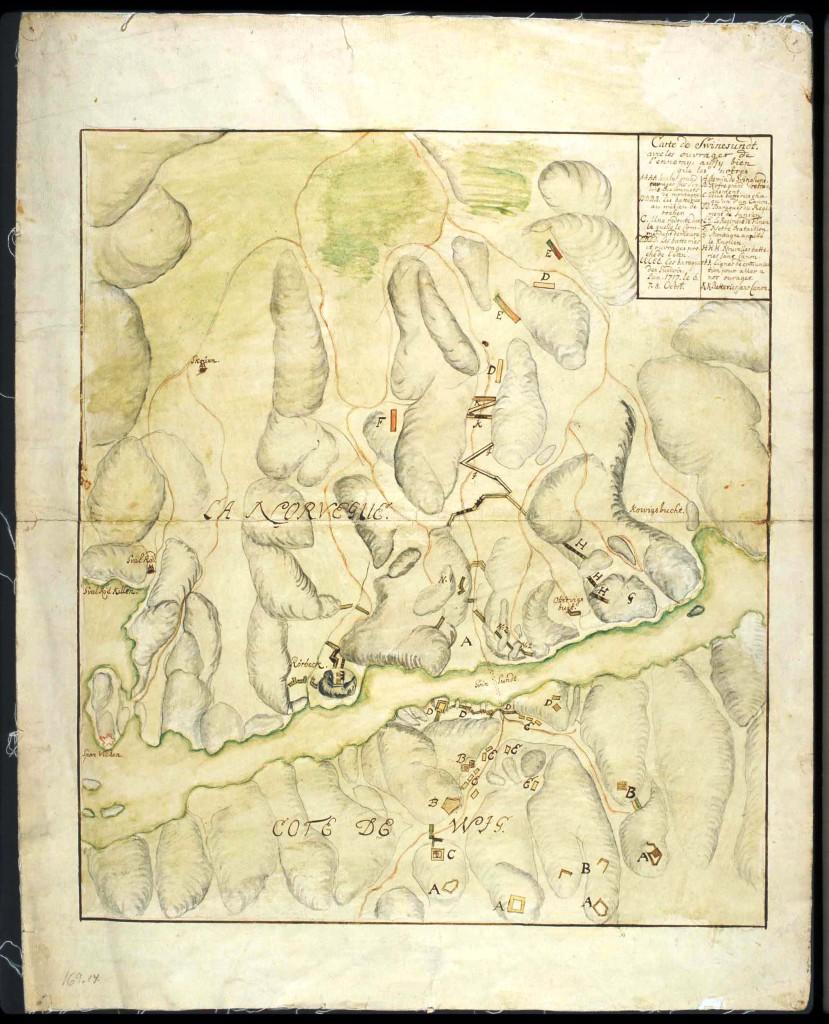 Kart, udatert, men tegnet etter 1717. Kartet viser ulike forsvarslinjer både på svensk og norsk side slik de antagelig ble seende ut etter de store arbeidene i løpet av 1717. Karl 12. kartsamlingen Nasjonalbiblioteket.