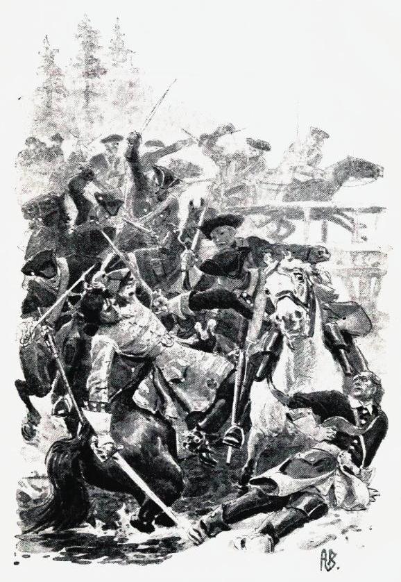 """Kruses kamp ved Høland som fremstillet av Andreas Bloch i O A. Øverlands """"Norske historiske fortællinger"""" 1895."""