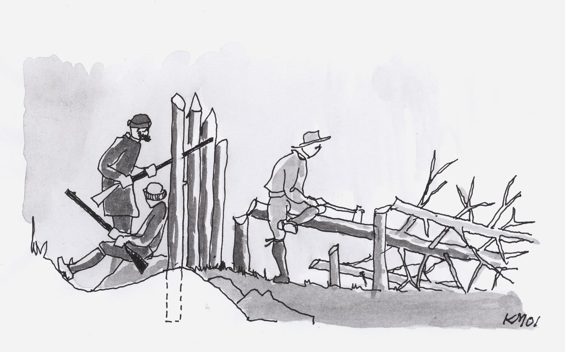 Munthe beskriver at Det frivillige Kompaniets hadde palisadeverk av bakhôn. Illustrasjon av Kjeld Magnussen slik den er presentert i heftet «Festningsverk i Østfold før 1814» (Fortidsminneforeningen).