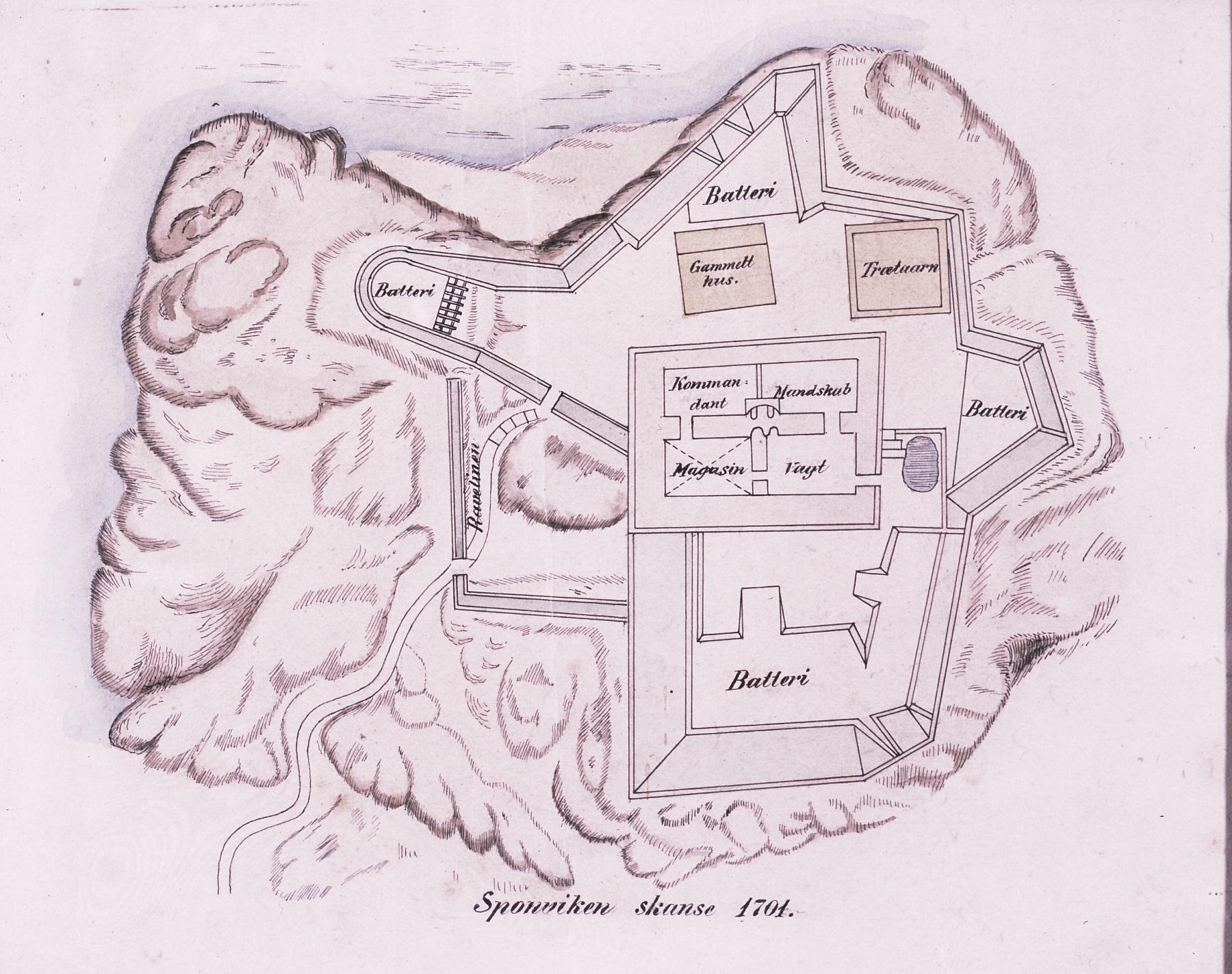 Plantegning av Sponviken skanse 1701. Norges kartverk (NGO). Kopi i Østfoldmuseene Halden historiske Samlinger.