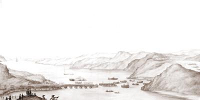 Karl 12.s felttog 1716. Flytebru slås over Svinesund. Karl 12. og general Delwig inspiserer arbeidene. Kungliga Biblioteket.