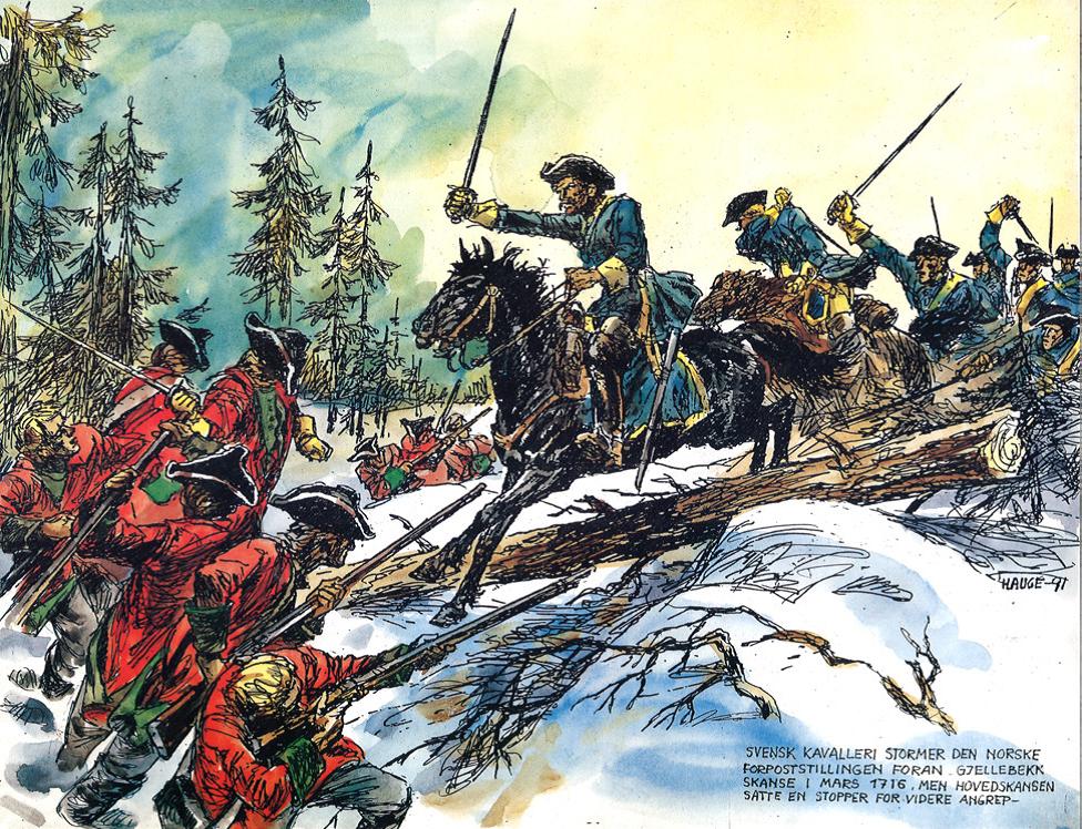 Oberst Lövenstiernas soldater angriper forskansningene ved Gjellebekk. Illustrasjon av Andreas Hauge
