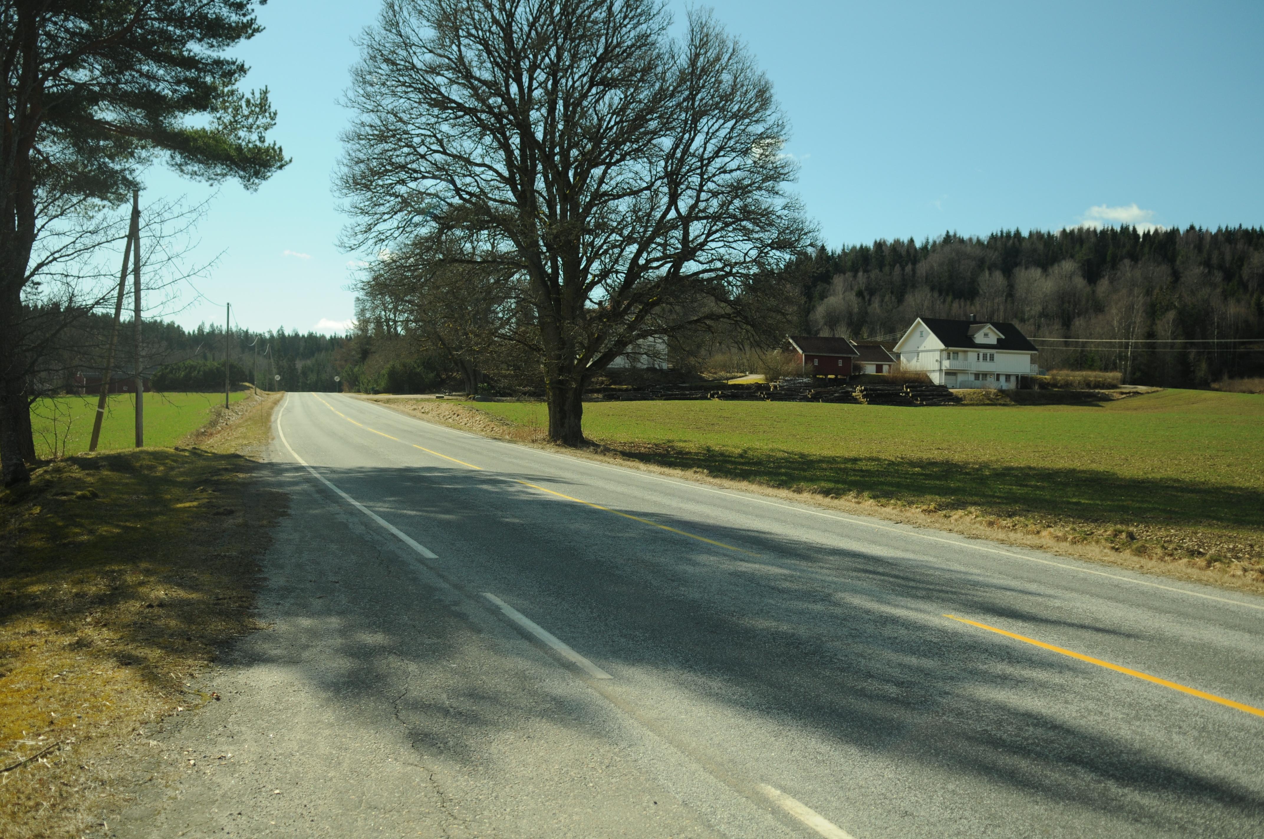 Bautaen til venster og gården Kirkebøen til høyre om vei 22 sett fra nord. Foto: Svein Norheim, Østfoldmuseene Halden historiske Samlinger
