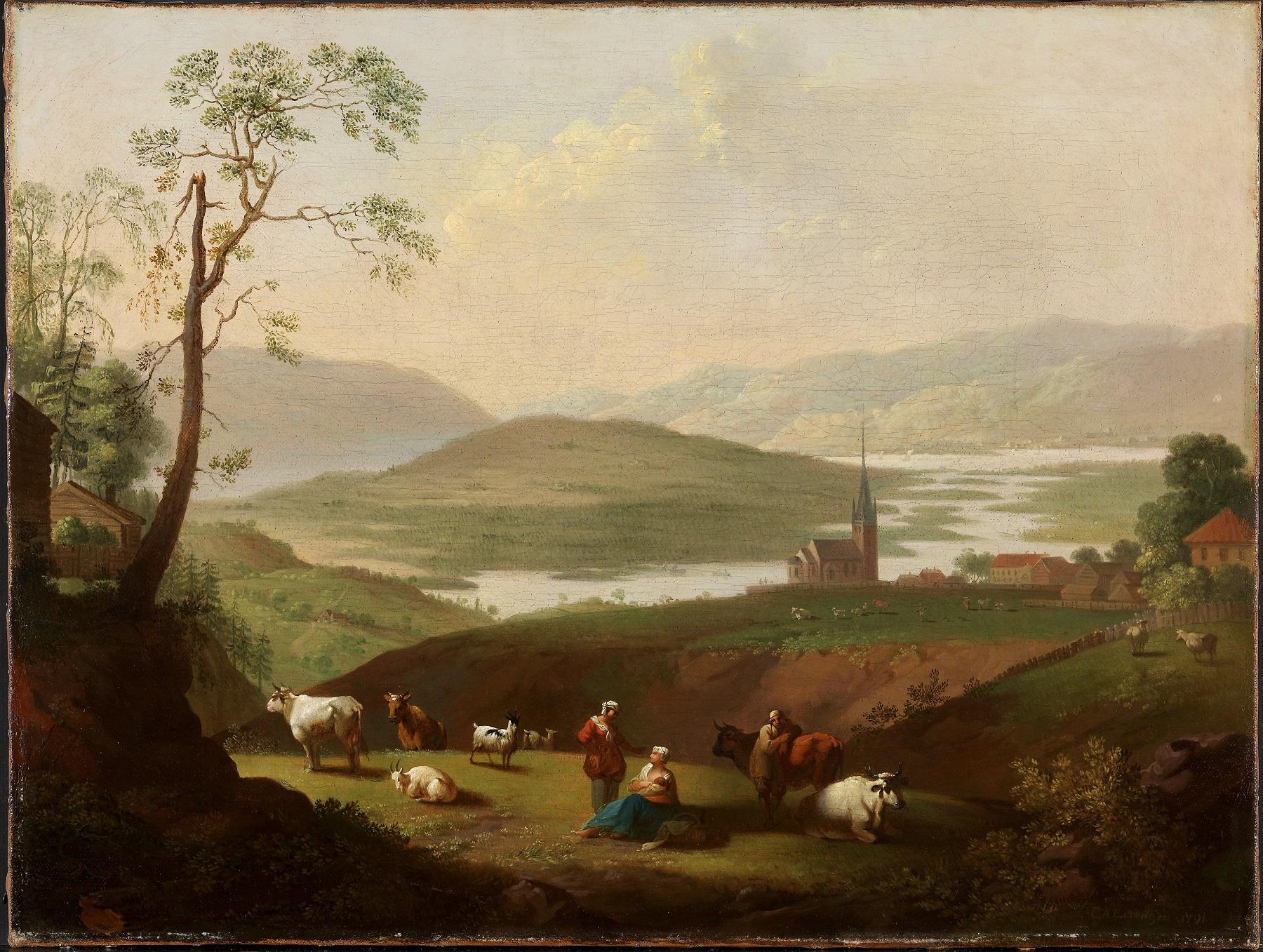 Ringeriksbygden med Norderhov kirke og prestegård skildret av C.A. Lorentzen 1790-åra. Maleriet tilhører Nasjonalmuseet for kunst.