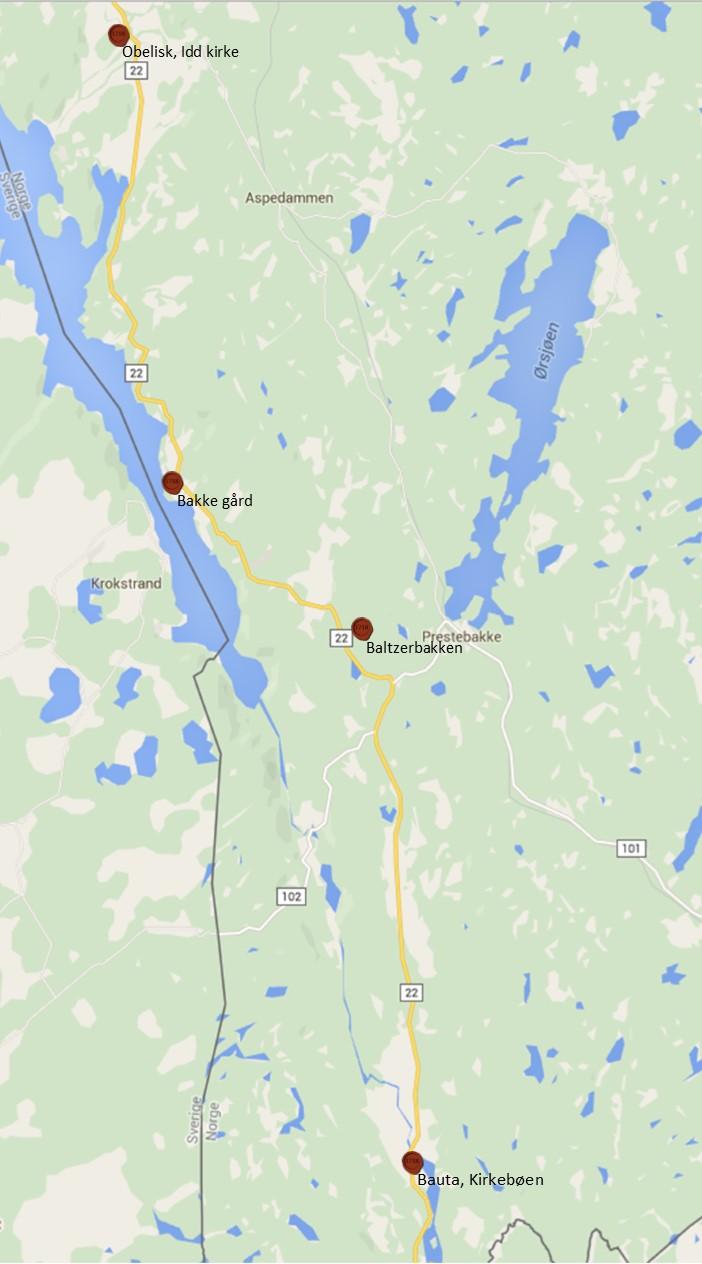 Flere steder i Idd og Enningdalen forteller om historien till klokker Bakke.