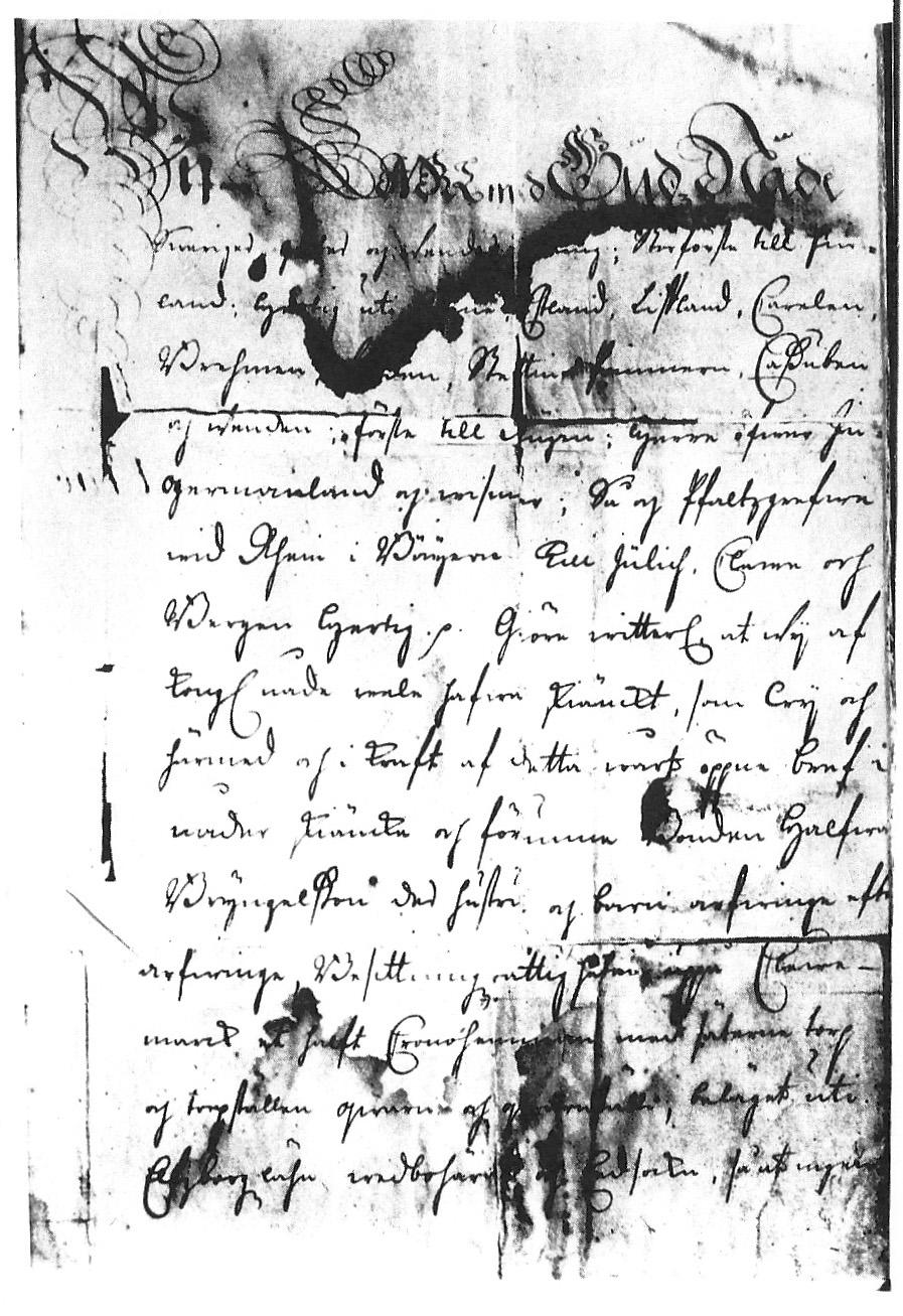 Del av gåvobrevet daterat 9 april 1716 som ger Halvard Bryngelsson och hans arvingar rätten till gården Klevmarken i Dals-Eds socken. Från http://www.donparrish.com/Halfward.html