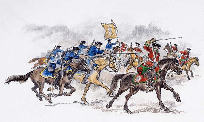 Oberstløytnant Frederik Budde og soldatene i troppen hans rir gjennom den svenske stillingen ved sunnland bru. Bilde: Alf Lännerbäck