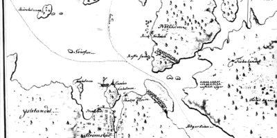 Karta bland annat visar Västerbottens regementes läger i Strömstad år 1717